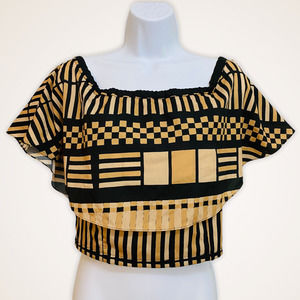 TRACY REESE • Black & Tan Tiered Flutter Crop Top